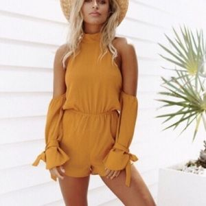 Cold shoulder halter romper
